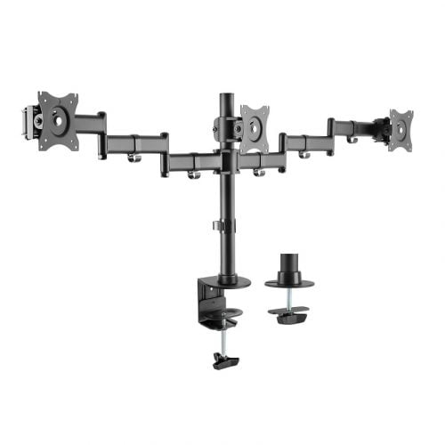 BRATECK 13''-27'' Triple monitor desk mount. Rotate, tilt and swivel. Supports VESA 75x75 & 100x100. Max load: 8kg per screen. Max arm extension - 630mm. Colour: Slate black.