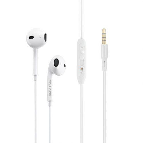 Promate gearPod-IS2 Stereo Earbuds - White