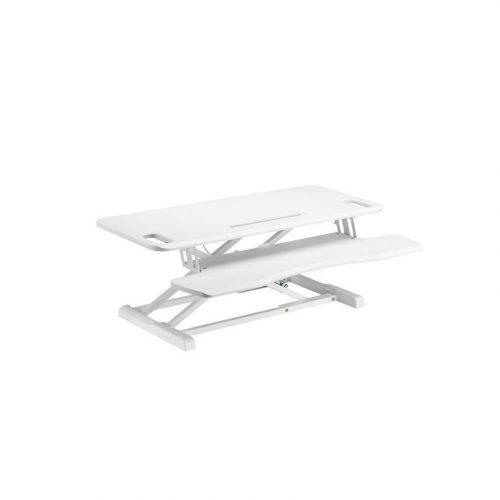 Brateck White Sit-Stand Desk - Gas Spring Scissor Lift Workstation (DWS28-02N.WHT)